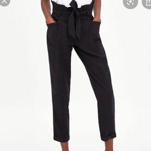 Zara Black Tie Waist Pants